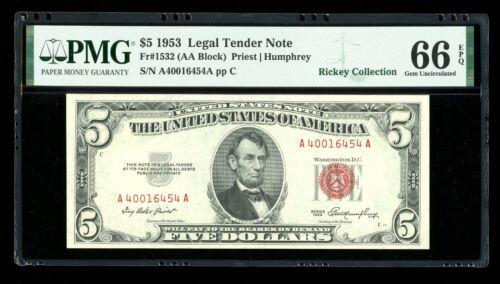 DBR 1953 $5 Legal Gem Fr. 1532 AA Block PMG 66 EPQ Serial A40016454A
