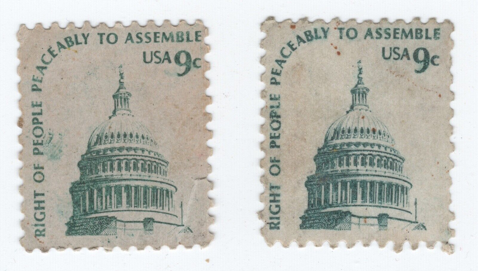 Right Of People Peaceably To Assemble 9 Cent Stamps - 2 Stamps - $0.99