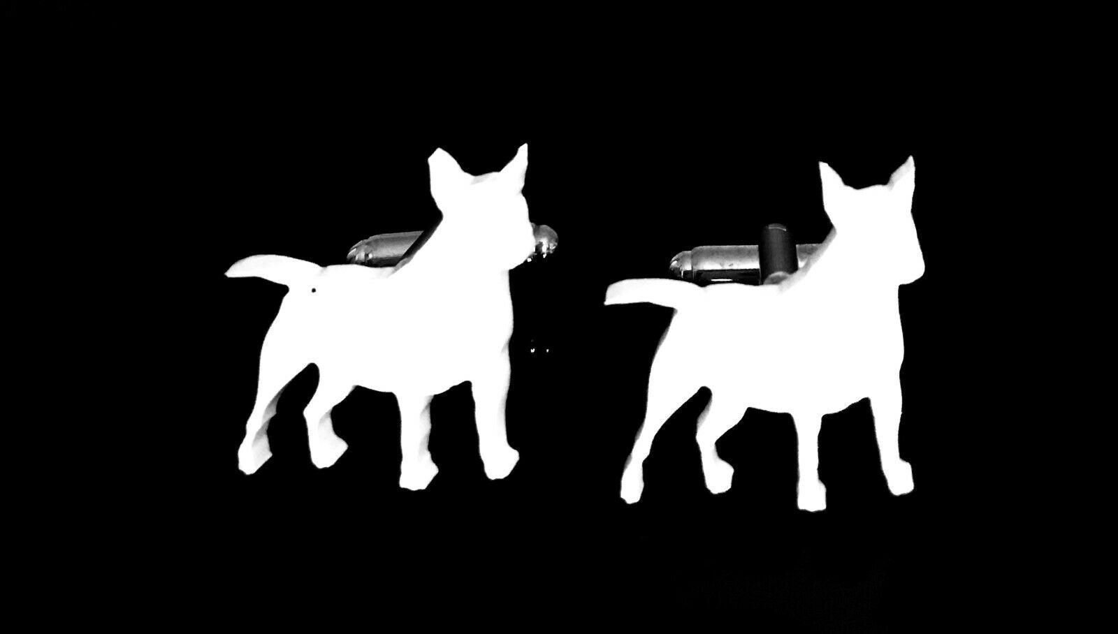Anglais bull terrier 2 chien hommes nouveauté chemise boutons manchette en blanc