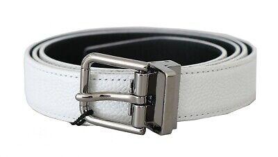 DOLCE & GABBANA Belt White Leather Silver Logo Buckle s. 85cm / 34in RRP $350