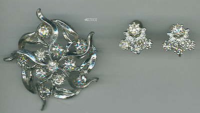 1890's Silver-tone Rhinestone Brooch Pin With Open C Clasp & Screw Back Earrings