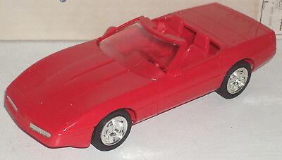 """Plastic Promo Car 1990 Chevrolet Corvette Convertible Bright Red 7"""" New in Box"""