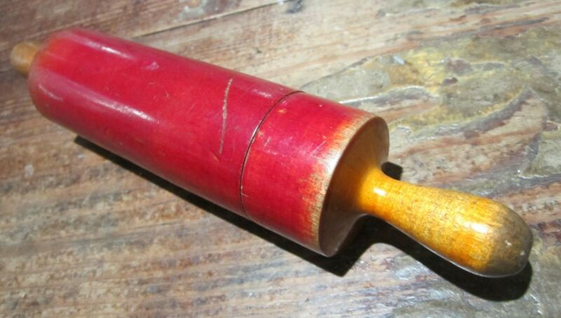 Red Rolling Pin Etui - Antique Needle Case  - One of 2 Available