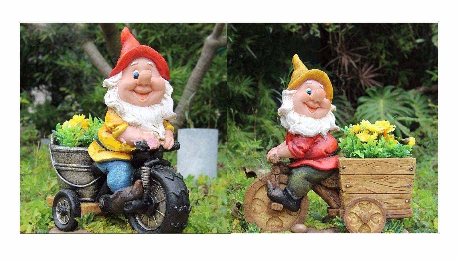 Détails sur Design Nain 36 cm Haut avec Pot de Fleurs BL15156 Vélo Nain de  Jardin