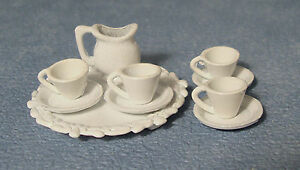 1-12-Scale-10-Piece-Metal-White-Dolls-House-Miniature-Tea-Set-Accessory-870