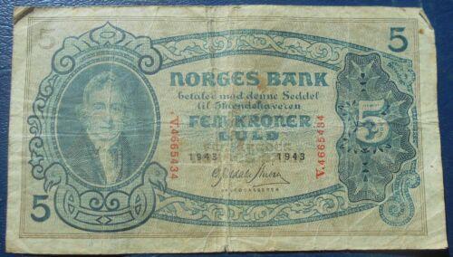 Scarce 1943 Bank of Norway 5 Kroner Banknote P#7 President Christie Nice # RED 3