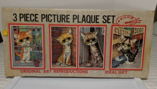 Vintage 1965 Gig Litho Picture Plaque Set Big Sad Eyes Kittens Cat NIP Sealed