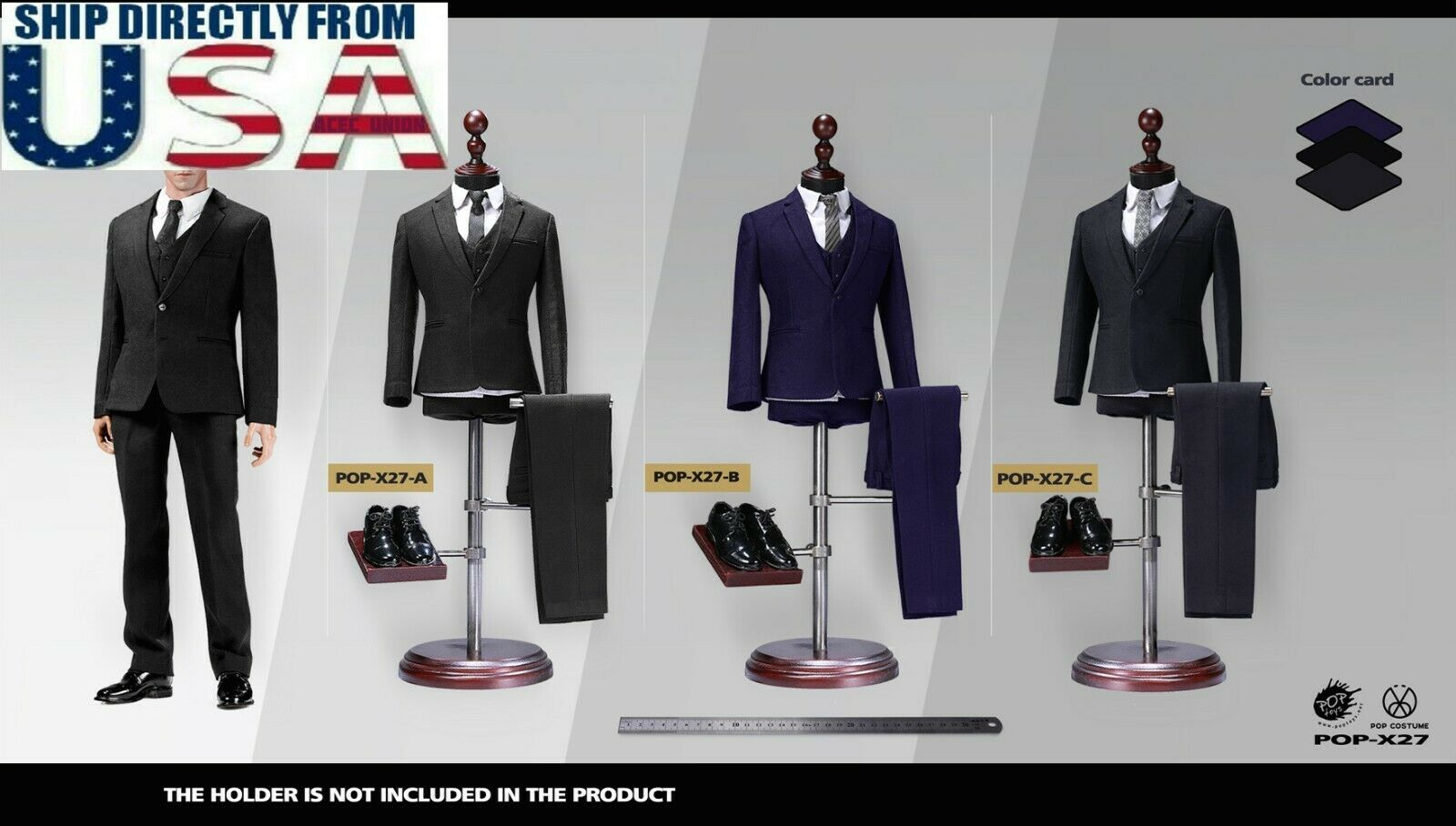 1//6 Standard Men Business Suit Black Blue Grey Western-style For Hot Toys ❶USA❶