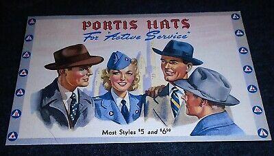 Mint 1940's Portis Hats, Neff Clothing Co, Atlantic Iowa Vintage Postcard