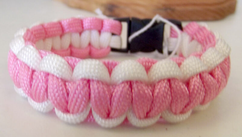 Handmade Paracord Cobra Weave Bracelet - Breast Cancer Awareness Pink & White