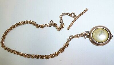 Vintage c1900 12K GF Gold Pocket Watch Chain WITH T-Bar and Ladies Pocket Watch