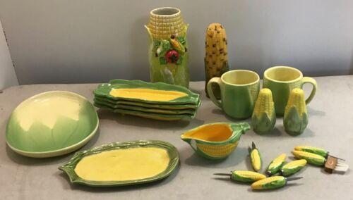 20 pc Terrace Ceramics Shawnee King Corn 60's-70's Mugs Platters Cob Candle