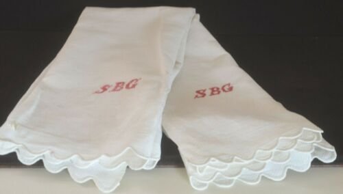 "Pair of Antique HUCK Damask TOWELS with ""SBG"" REDWORK Monogram UU969"