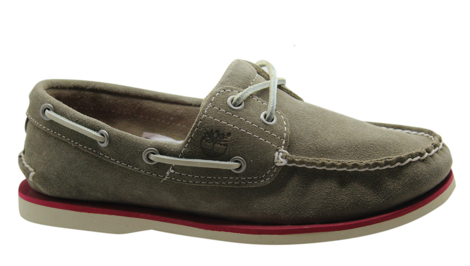 Détails sur Timberland Classique 2 Œil Chaussures de Bateau pour Hommes Gris Daim Cuir Lacet