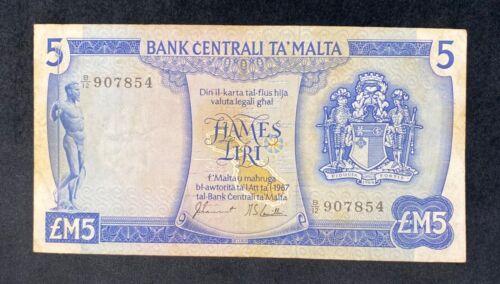 Central Bank Of Malta banknote 5 Liri 1973 SAID 37f signed Sammut / Camilleri