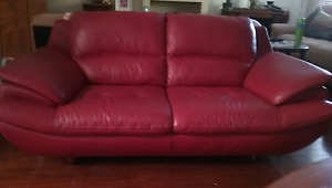 Sofa Genuine Leather  Deep Red 2 seater Armadale Armadale Area Preview