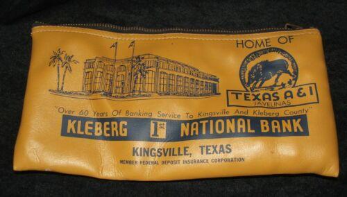 KINGSVILLE Texas 1st National Bank Bag Metal Zipper Kleberg A&I Vinyl Vintage