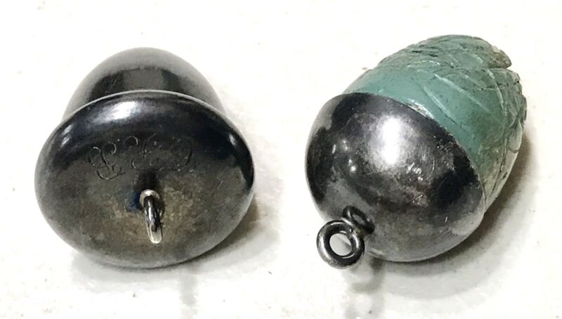 Antique Vintage 1800' Sterling Silver Enameled Sewing Thimble Acorn Old Engraved