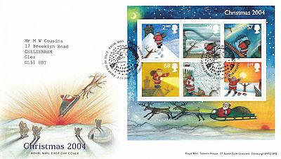 2 NOVEMBER 2004 CHRISTMAS M / SHEET ROYAL MAIL FIRST DAY COVER BUREAU SHS  (x)