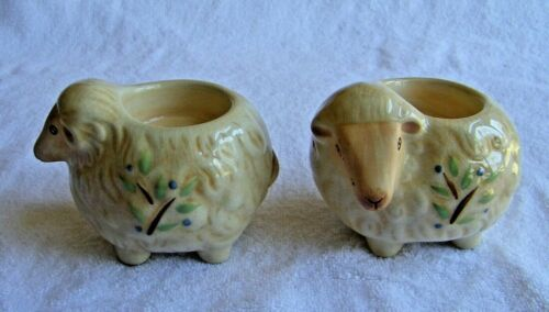 Pair of Ceramic Sheep Candle Votive Holders