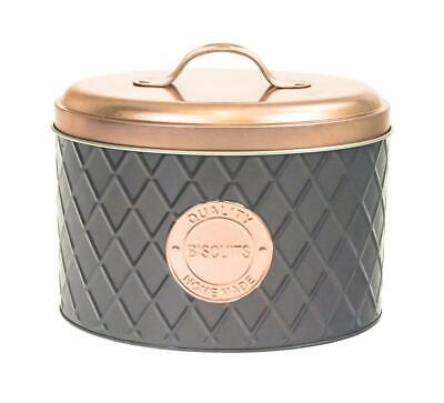 Grey & Copper Metal Biscuit Cookie Storage Tin Box Canister