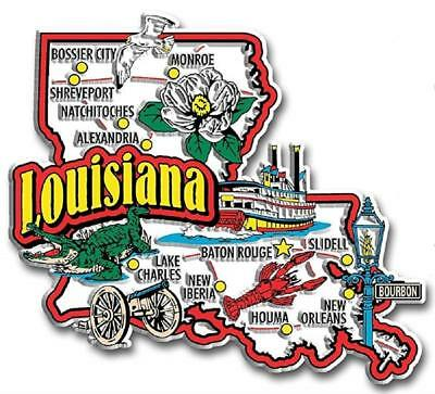 Louisiana Jumbo State Map Fridge Magnet