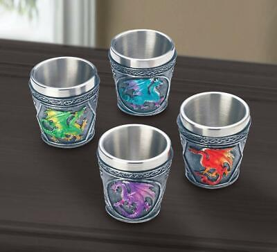 Red Cup Shot Glass (4 pc SHOT GLASS red blue green medieval DRAGON cosplay Drinking game cup)