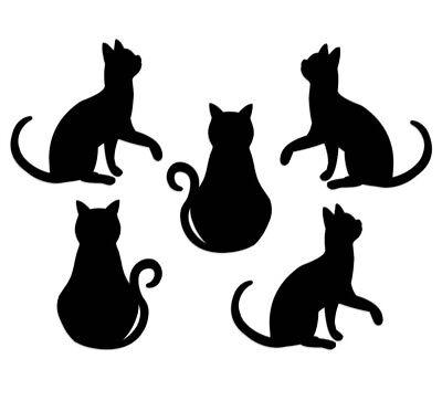 - Cat Silhouette Cut Outs ~ Die-Cut Kitten Shapes ~ Black ~ Set of 10