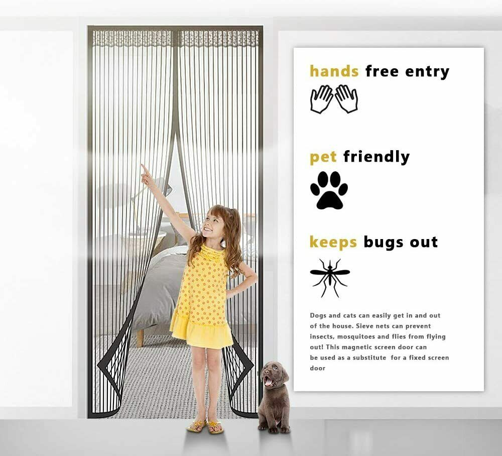 Magnetic Screen Door Mesh Hands-Free Net Mosquito Fly Insect Bug Curtain Closer 4