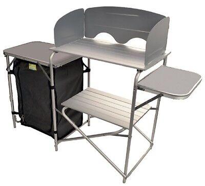 Foldable Camping Kitchen Unit with Windshield Aluminium Waterproof