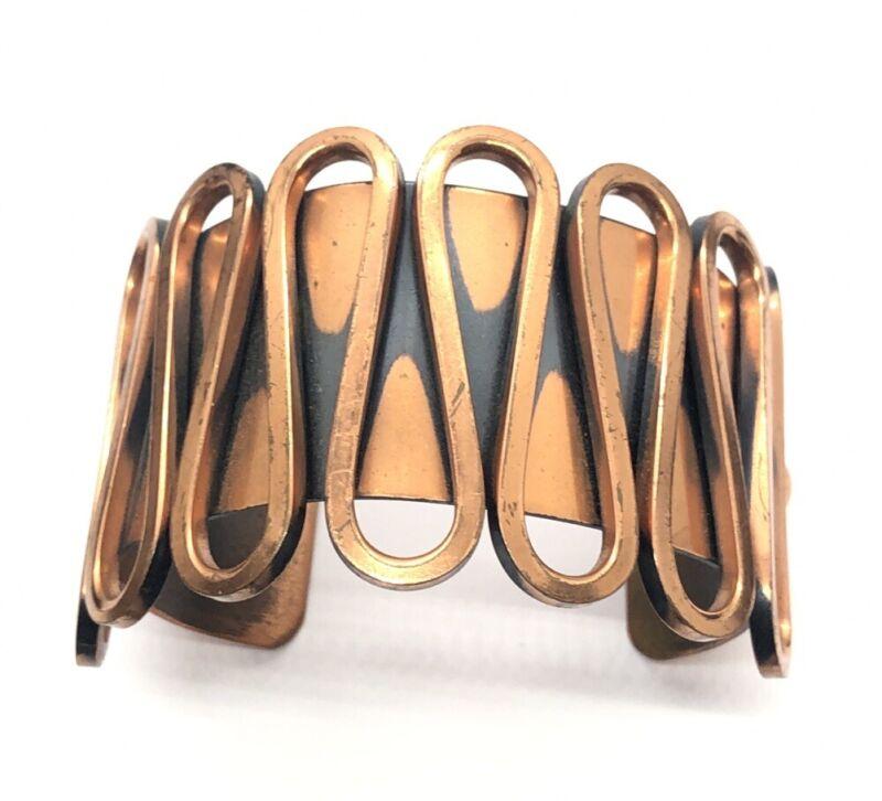 "Vintage Bracelet Signed Renoir Copper Modernist Mid Century 6.5"" Cuff"