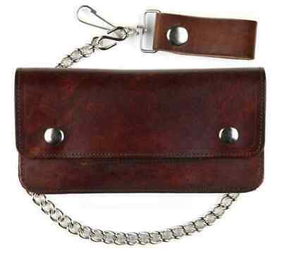 - Mascorro Genuine Leather Men's 8 in Trucker Biker Chain Wallet, Brown AT401-46