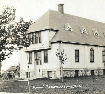 1952 gladwin MI masonic temple building RPPC real photo postcard MASONS Michigan