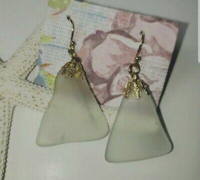 Sea Glass Earrings green recycled wine bottle gold tone ear hooks frosted