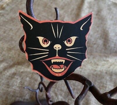 Vintage Halloween Cat Faces (Vintage Repro Luhrs Cat Face, Red Black, Fangs Halloween Scrap Decoration,1)