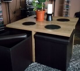 Coffee table plus 4 storage stools excellent condition stools tuck in underneath as shown