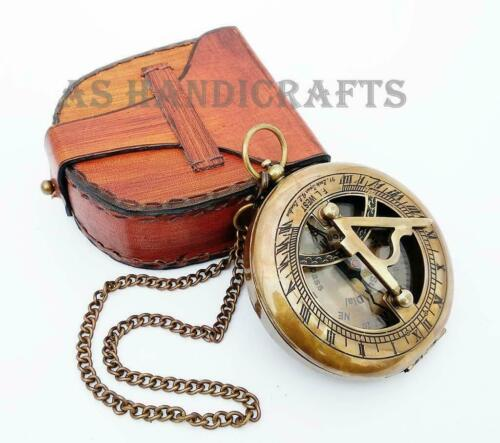 BRASS--SUNDIAL-COMPASS Sundial Watch with Leather case Sundial