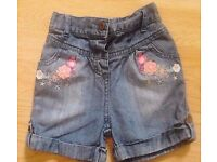 Baby Girl's New Denim Shorts with Floral Motifs. Age 12-18 Months.