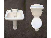 White Cloakroom / Bathroom Suite - Basin & Toilet - Good Working Used Condition