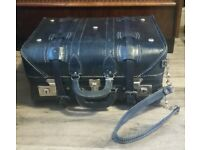 Gorgeous Vintage Quality Hand Stitched Leather suitcase fully lined with locks