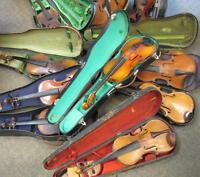 VINTAGE Violins ( 11 with 9 Cases ) Sold as is. Most Need Repair