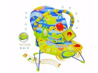 New Baby Bouncer Chair Soothing Music Vibration and Toys for Girls or Boys