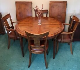 Cherrywood 4' diameter extendable dining table & 6 chairs, 2 carvers