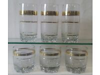 SET OF 6 TALL HIGH BALL DRINK GLASSES VERSACE DESIGN