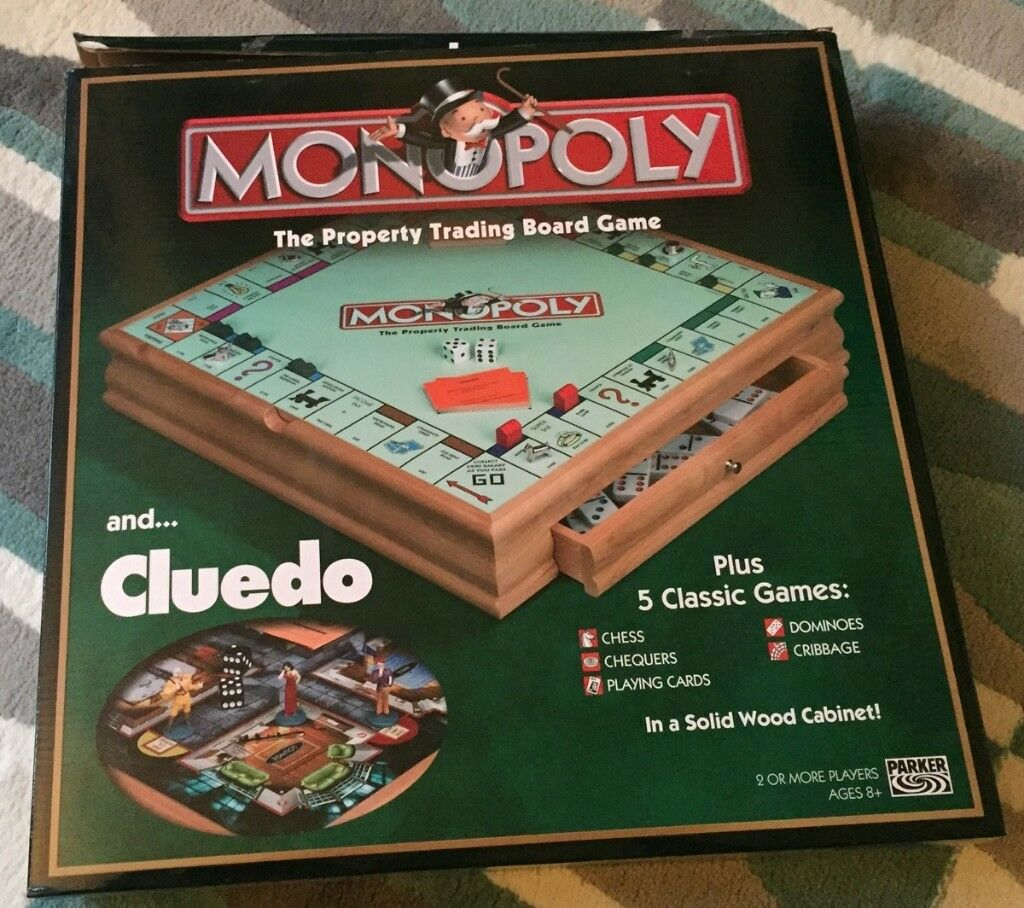 Deluxe Monopoly With Cluedo Compendium In A Wooden Cabinet In Clapham Common London Gumtree