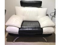 BLACK AND WHITE MODERN LEATHER CHAIR