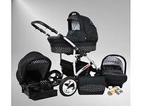 armax Pram & Pushchair Travel System (car seat & rain cover, mosquito net, swivel wheels)