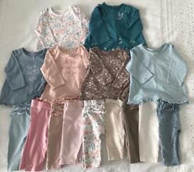 Bundle of leggings & tops, size 0-3 months