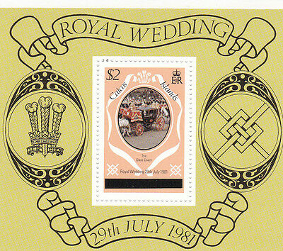 CAICOS ISLANDS 1981 ROYAL WEDDING $2 MINIATURE SHEET LONDON PRINTING MNH
