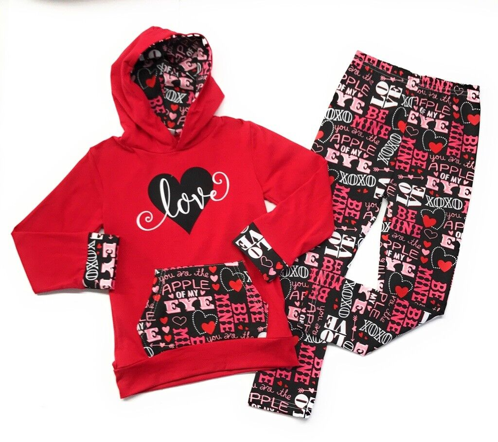 Valentine's Day Baby Toddler Girl Love Hoodie Boutique Out